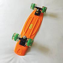 Скейт Пенни борд Penny Board LED 22 Orange - Оражневый 54см Светятся колеса, фото 3