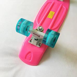 Скейт Пенни борд Penny Board LED 22 Pink - Розовый 54 см Светятся колеса, фото 2