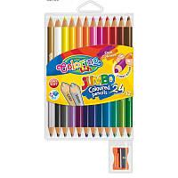 "Карандаши ""JUMBO"" цветные, 12 штук=24 цвета"