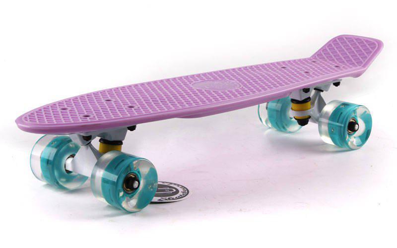 Скейт Пенни борд Penny Board Пенні Fish Skateboard LED 22.5 Lilac  - Лиловый 57см Светятся колеса