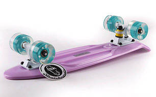 Скейт Пенни борд Penny Board Пенні Fish Skateboard LED 22.5 Lilac  - Лиловый 57см Светятся колеса, фото 2