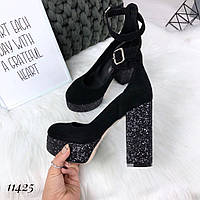 Женские туфли каблук битое стекло 11425 НТ