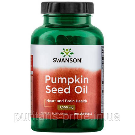 Масло семян тыквы, Swanson Pumpkin Seed Oil 1000 mg 100 Softgels, фото 2