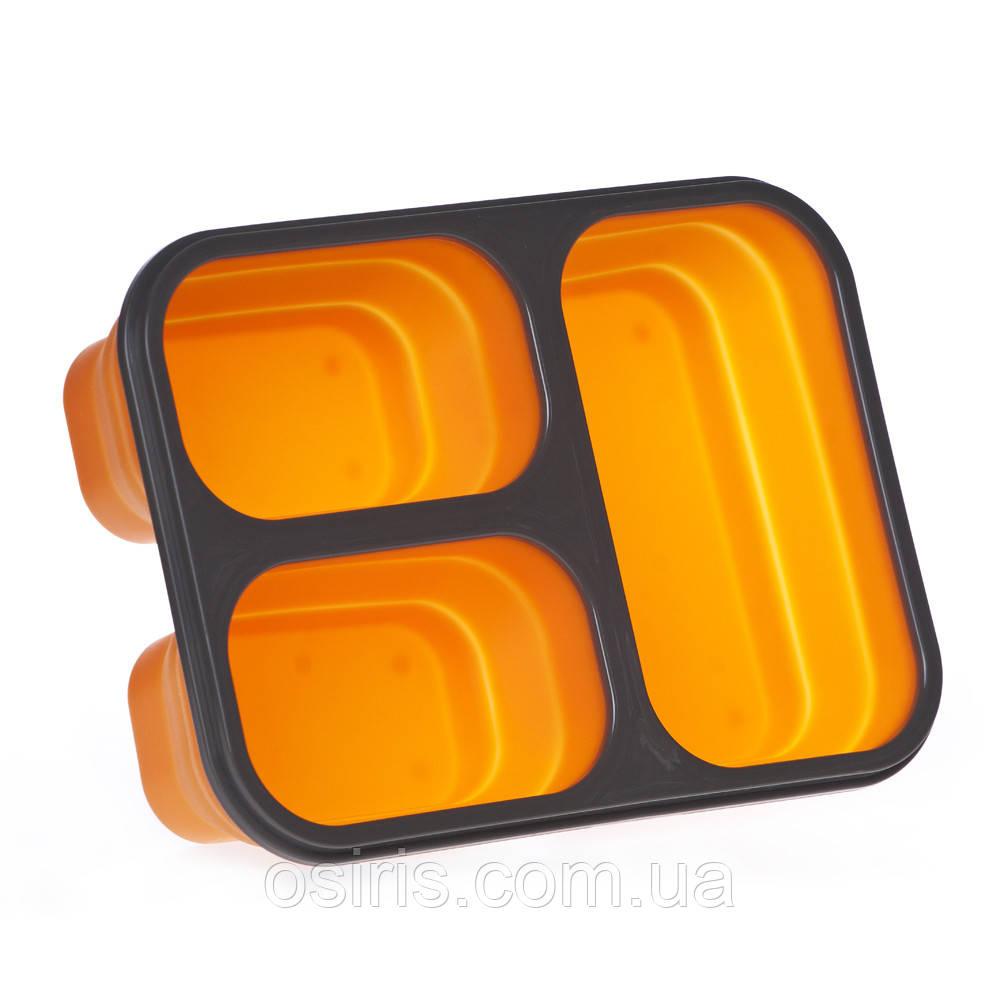 Ланчбокс силиконовый складной тройной, оранжевый