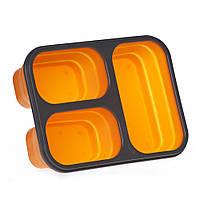Ланчбокс силиконовый складной тройной, оранжевый, фото 1