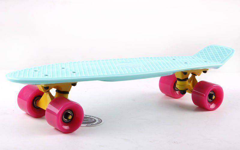 Скейт Пенни борд Penny Board Пенні Fish Skateboards 22.5 Mint/Pink - Мятный/Розовый