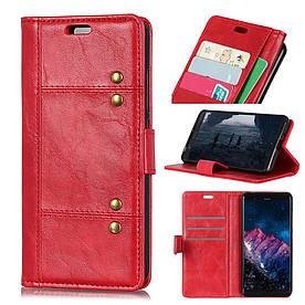 Чехол книжка для Huawei nova 4 боковой с отсеком для визиток, Гладкая ретро кожа, красный