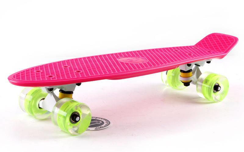 Скейт Пенни борд Penny Board Пенні Fish Skateboards LED Pink 22 - Розовый 57 см Светятся колеса