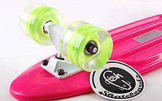 Скейт Пенни борд Penny Board Пенні Fish Skateboards LED Pink 22 - Розовый 57 см Светятся колеса , фото 3