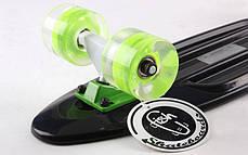 Скейт Пенни борд Penny Board Пенні Fish Skateboards LED Black 22 - Черный 57 см Светятся колеса, фото 3