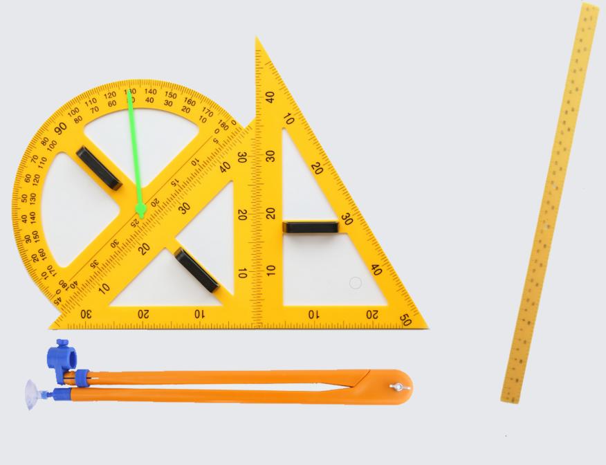 Демонстрационный комплект измерительных приборов(линейка 1м, 2 треугольника, циркуль, транспортир)