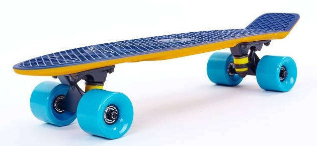 """Скейт Пенни борд Penny Board Пенні Fish Skateboards Dark-Blue 22"""" - Темно-Синий/Песочный Twin"""