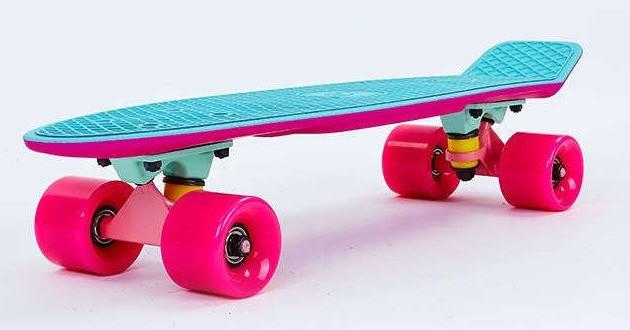Скейт Пенни борд Penny Board Пенні Fish Skateboards Light-Blue/Pink 22 - Голубой/Розовый Twin