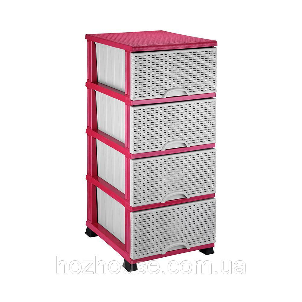Комод п/є 375*455*900 плетенка Elif розовый