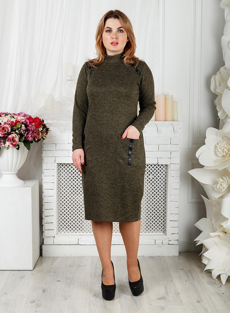 Платье большого размера Валерия хаки