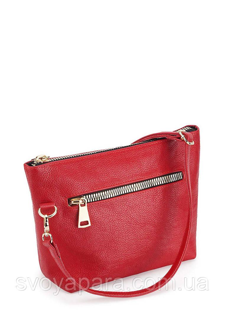 Женская сумка клатч из натуральной кожи флотар красного цвета с одним основным отделением