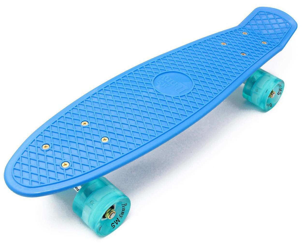 Скейт Пенни борд Penny Board PRO 22 - Blue 54 см Светятся колеса