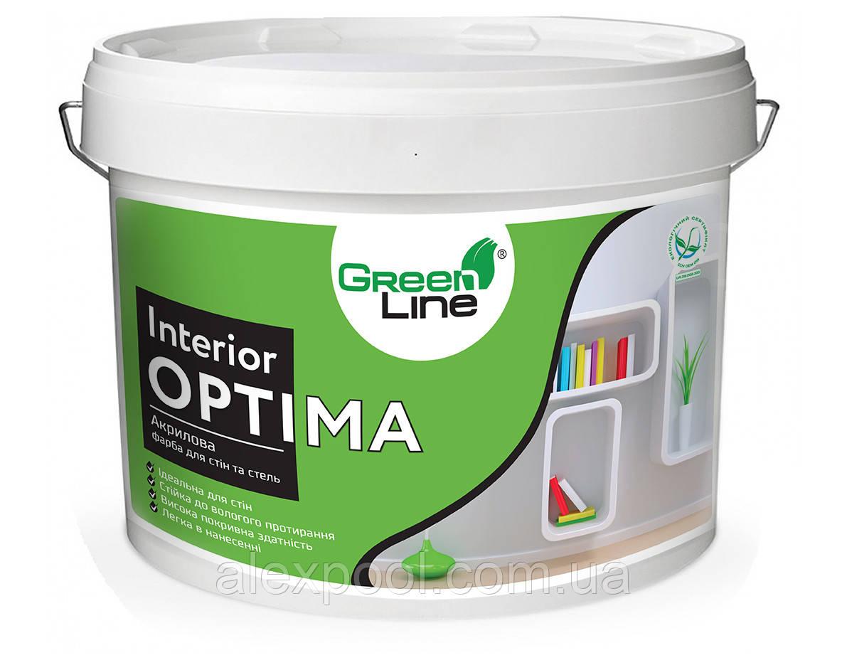 Интерьерная краска ТМ Green Line для стен и потолков INTERIOR OPTIMA 1 л