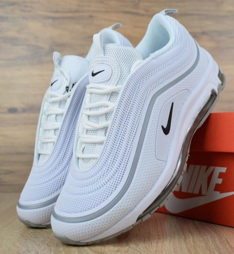 Женские кроссовки в стиле Nike Air Max 97 белые с серым. Живое фото