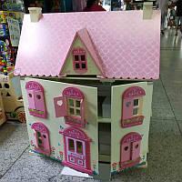 Кукольный дом деревянный (61*42*18см) с мебелью, откр.стена и крыша, в кор.