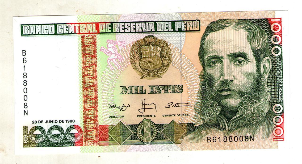 Перу 1000 интис 1988 год  состояние UNC
