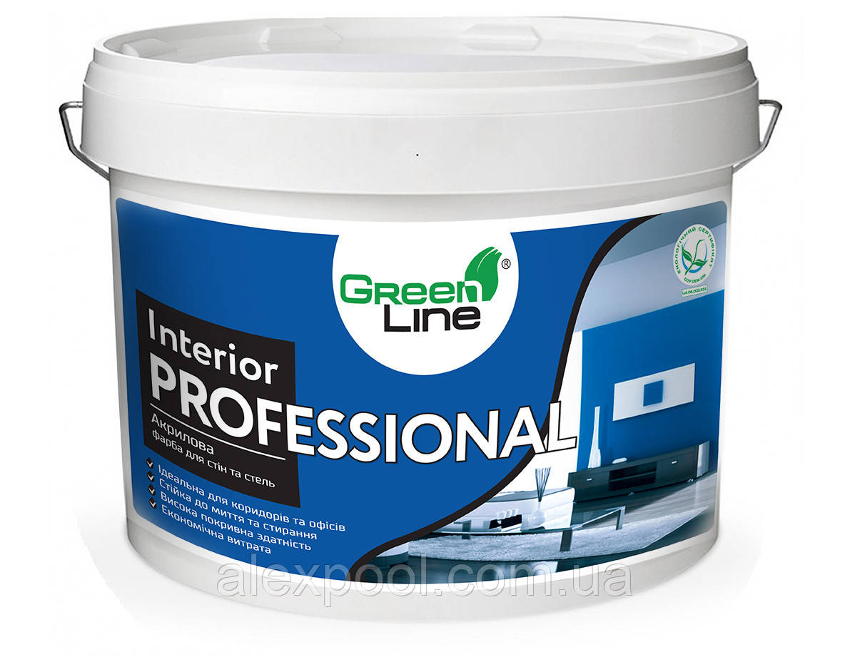 Интерьерная акриловая краска ТМ Green Line для стен и потолков INTERIOR PROFESSIONAL 1 л