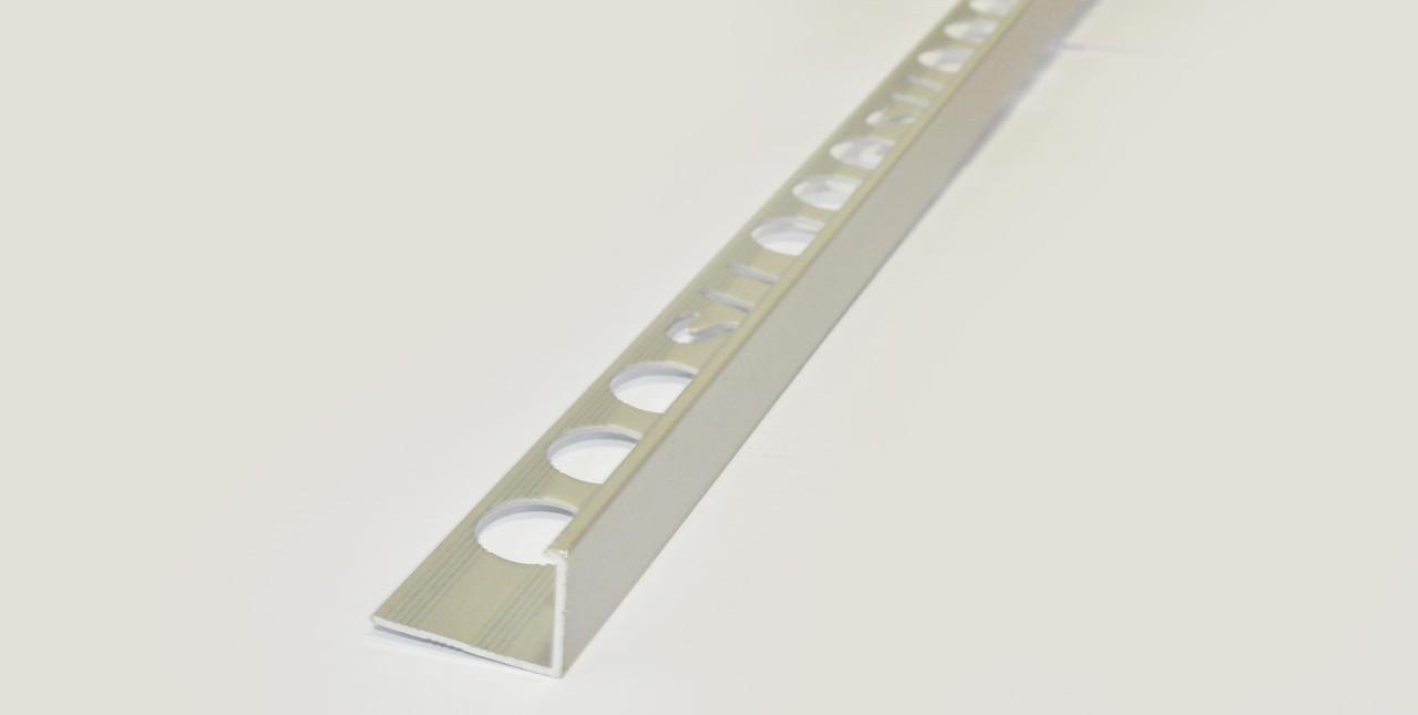Р образний алюмінієвий кут для плитки TIS 10 мм 2.7 м срібло АП10
