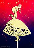 Топпер принцеса на торт, топер дівчина дівчина плаття ,топпери силуети ОПТ/Роздріб, фото 3