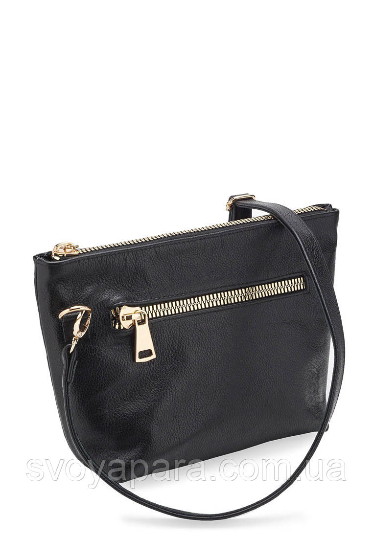 0f9ea800b604 Женская сумка из натуральной кожи флотар черного цвета и кожи с тиснением  ромб с одним основным