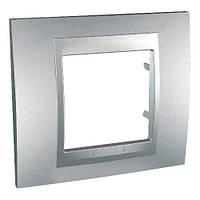 Шнайдер электрик Уника ТОП(Shneider electric Unica TOP Metall) рамка однопостовая алюминий/алюминий