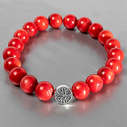 Коралл красный, Ø10 мм., браслет, 144БК