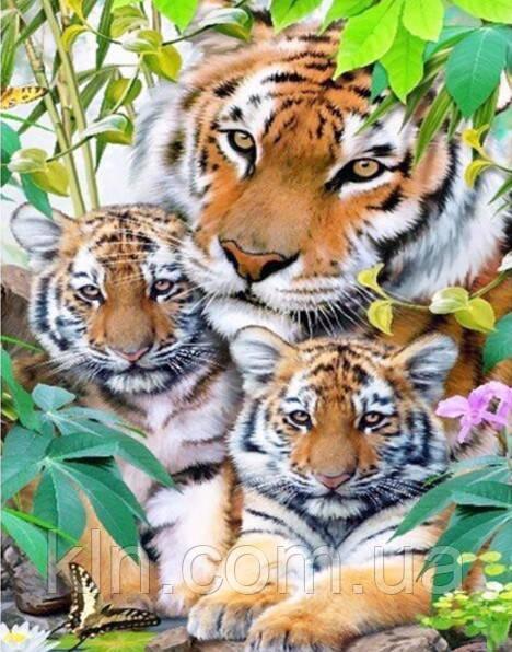 Алмазная мозаика на подрамнике Мама и тигрята 30 х 40 см (арт. TN541)