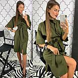 Женское стильное платье рубашка с широким поясом (2 цвета), фото 8