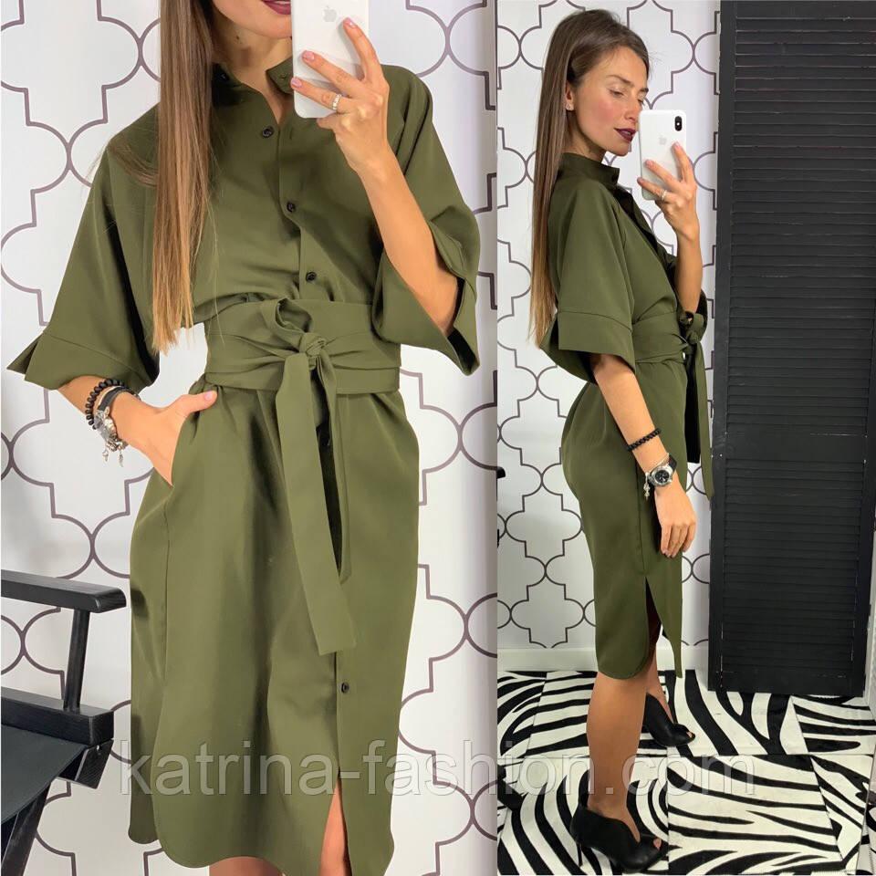 Женское стильное платье рубашка с широким поясом (2 цвета)