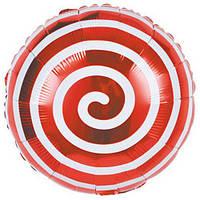 Шар фольгированный Спираль красная диаметр 45 см, фото 1