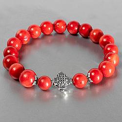 Коралл красный, Ø10 мм., браслет, 145БК