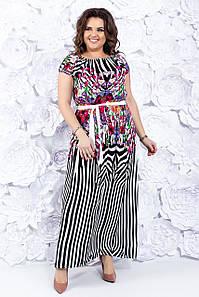 Летнее платье в полоску 44-50 р ( черный, синий )