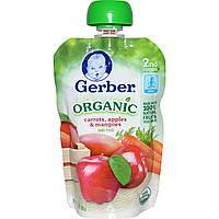 Gerber, Основное питание, Органическое детское пюре из моркови, яблок и манго, 3,5 унции (99 г)
