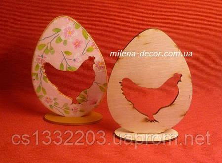 Яйцо на подставке с курочкой (фанера) 11*12см