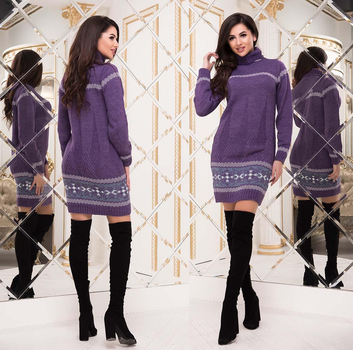 """Женский стильный свитер-туника до больших размеров """"Марс Орнамент Полоска"""" в расцветках"""