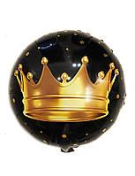 Шар фольгированный круглый черный Корона диаметр 45 см