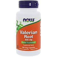 Now Foods, Корень валерьяны, 500 мг, 100 растительных капсул