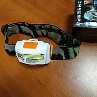 Налобный фонарик SH-169-COB на батарейках ААА лампа для рыбалки и кемпинга