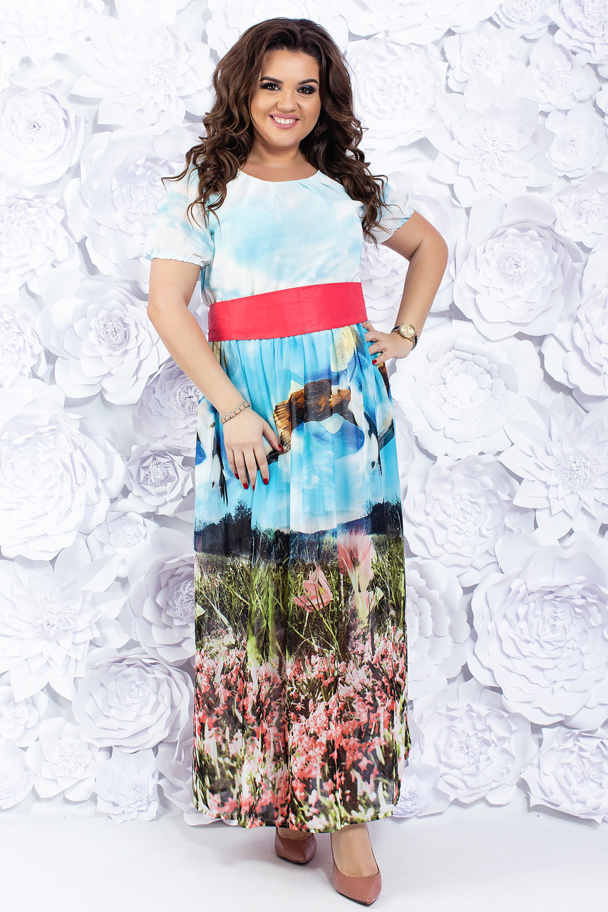 Платье из шифона с широким поясом 48-54 р