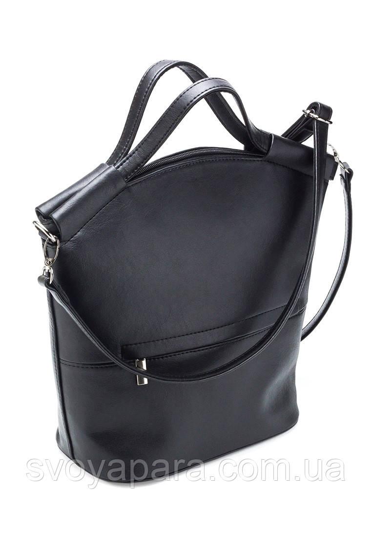 579cea476e7b Женская сумка из высококачественной экокожи черного цвета с одним основным  отделением - Своя Пара в Харькове