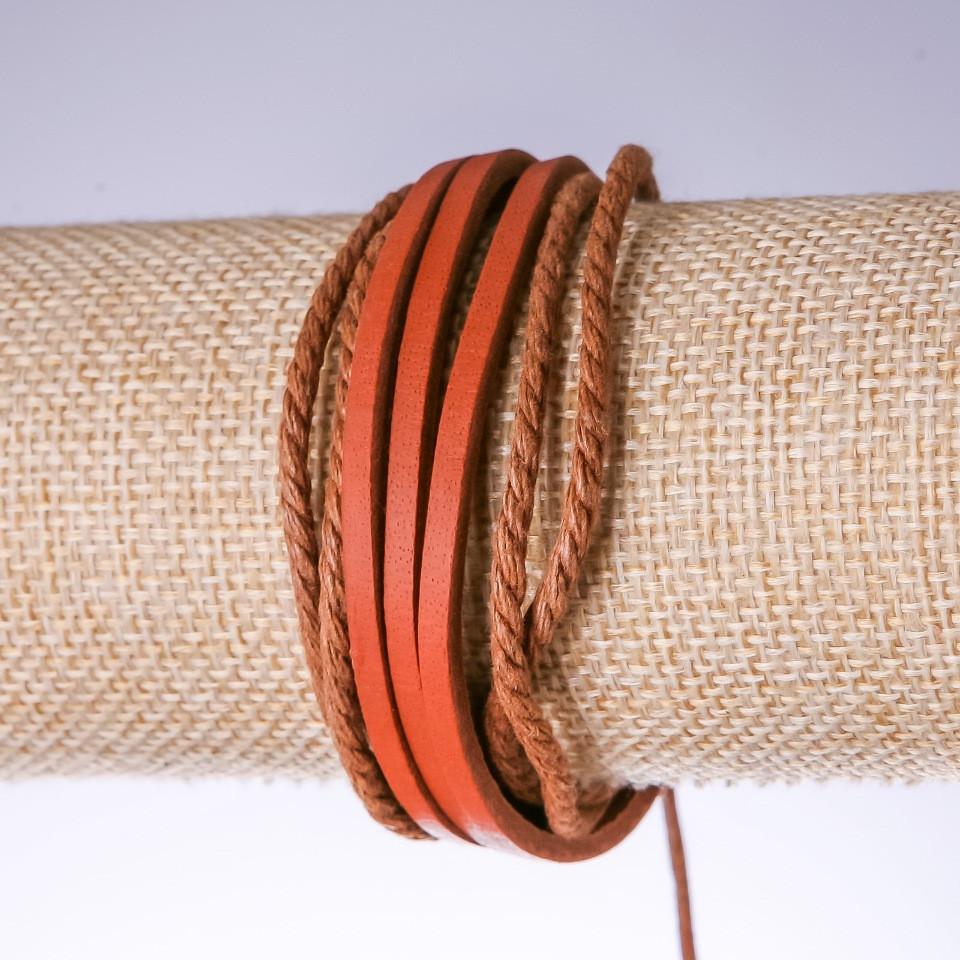 Браслет рыжая эко кожа на затяжке