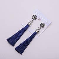 Сережки Кисті сині зі стразами L-9см