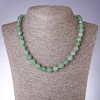 Бусы натуральный камень Нефрит многогранник d-8х10мм L-48см