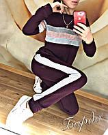 Женский спортивный костюм весна-осень Люрекс трехцветный (42 44 46 48) (цвет бордо) СП, фото 1