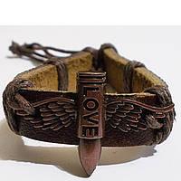 """Кожаный браслет фенечка """"Пуля с крыльями""""., фото 1"""
